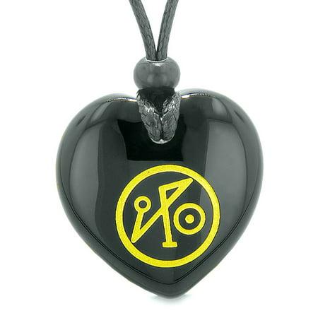 Archangel Michael Sigil Magic Amulet Planet Energy Puffy Heart Black Agate Pendant Adjustable - Agate Puff