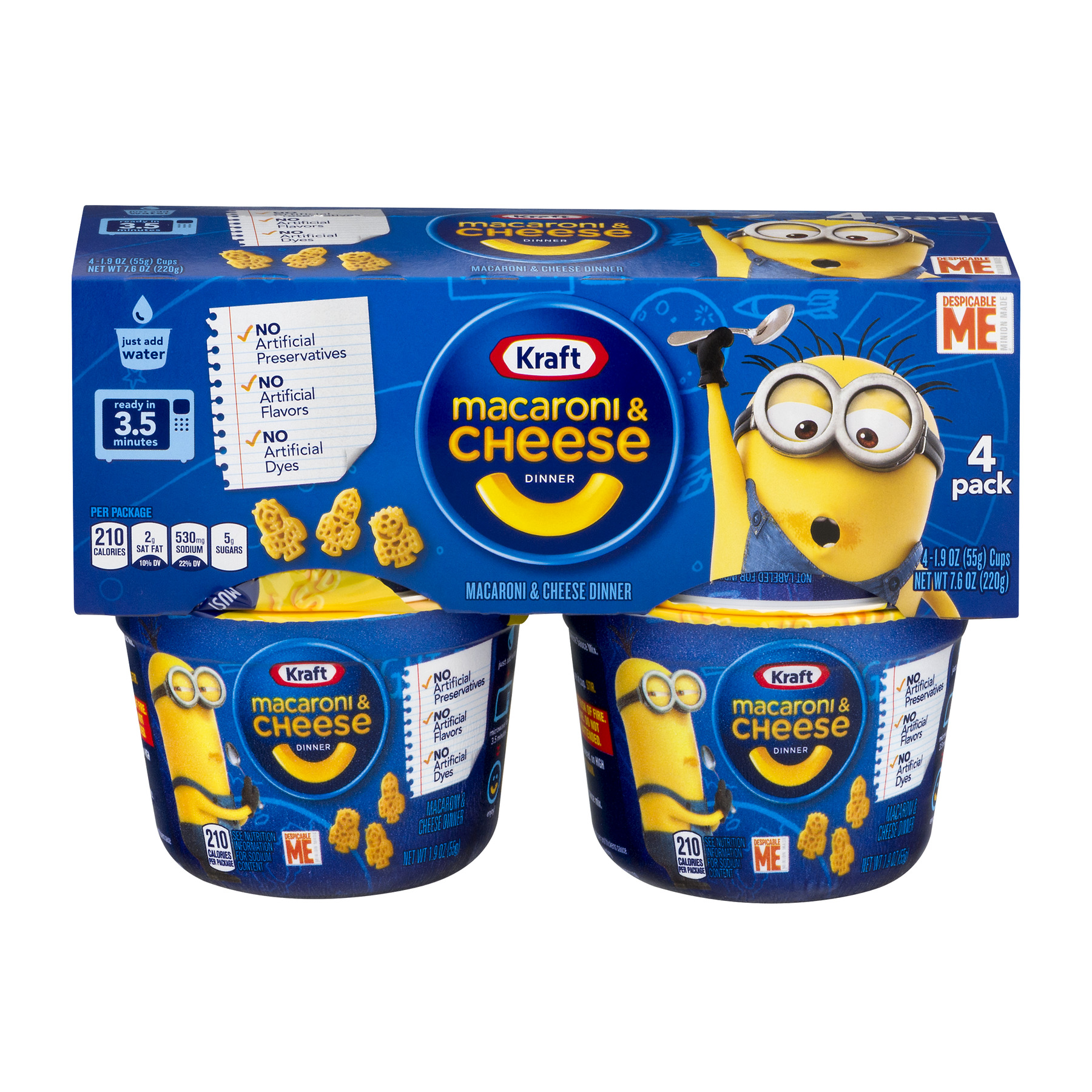Kraft Macaroni & Cheese Dinner Despicable Me Shapes - 4 PK, 1.9 OZ