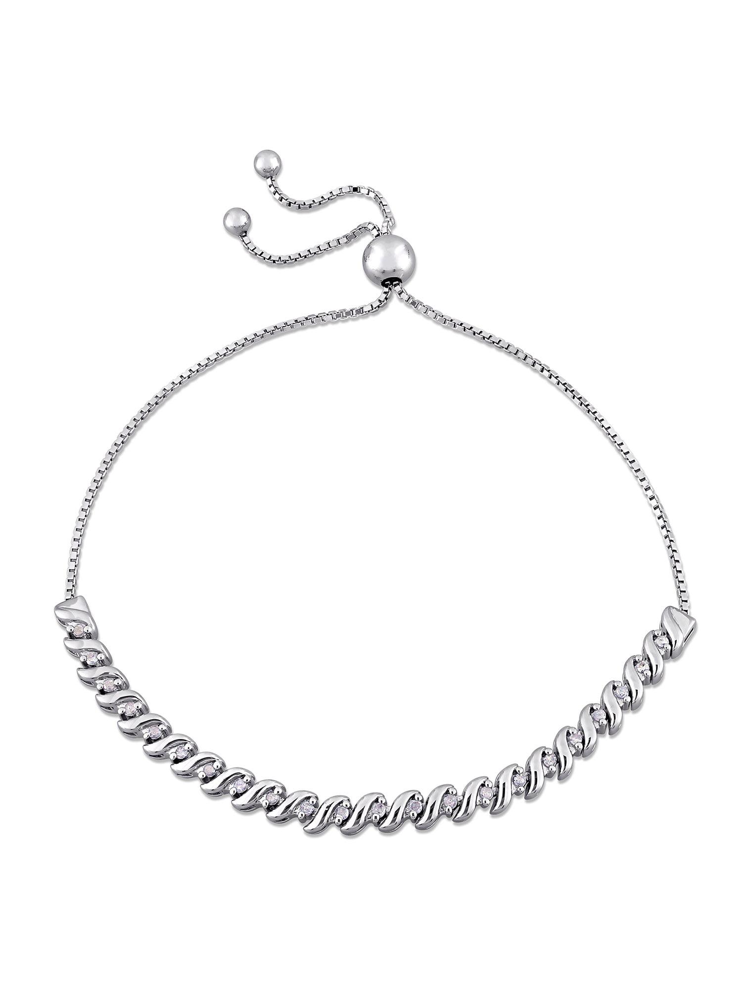 1/4 Carat T.W. Diamond Sterling Silver Bolo Bracelet, 9