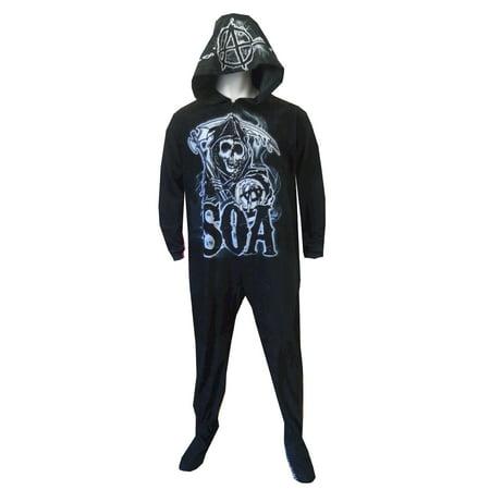 Sons Of Anarchy Grim Reaper Onesie Hooded Footed Pajama