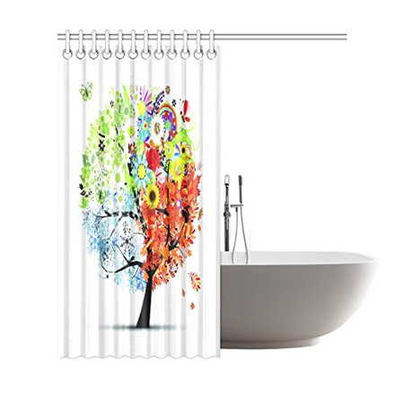 BSDHOME Four Seasons Tree of Life Shower Curtain, Colorful Butterfly Polyester Fabric Shower Curtain Bathroom Sets with Hooks 66x72 Inches - image 2 of 3