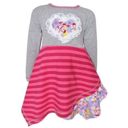 0841476cbfe1 Ann Loren AnnLoren Girl s Boutique Grey Pink Purple Yellow Cotton ...