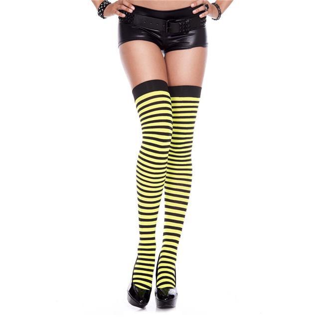 ce949363e320d9 Music Legs 4741-BLACK-NYELLOW Striped Thigh High Stockings, Black & Neon  Yellow