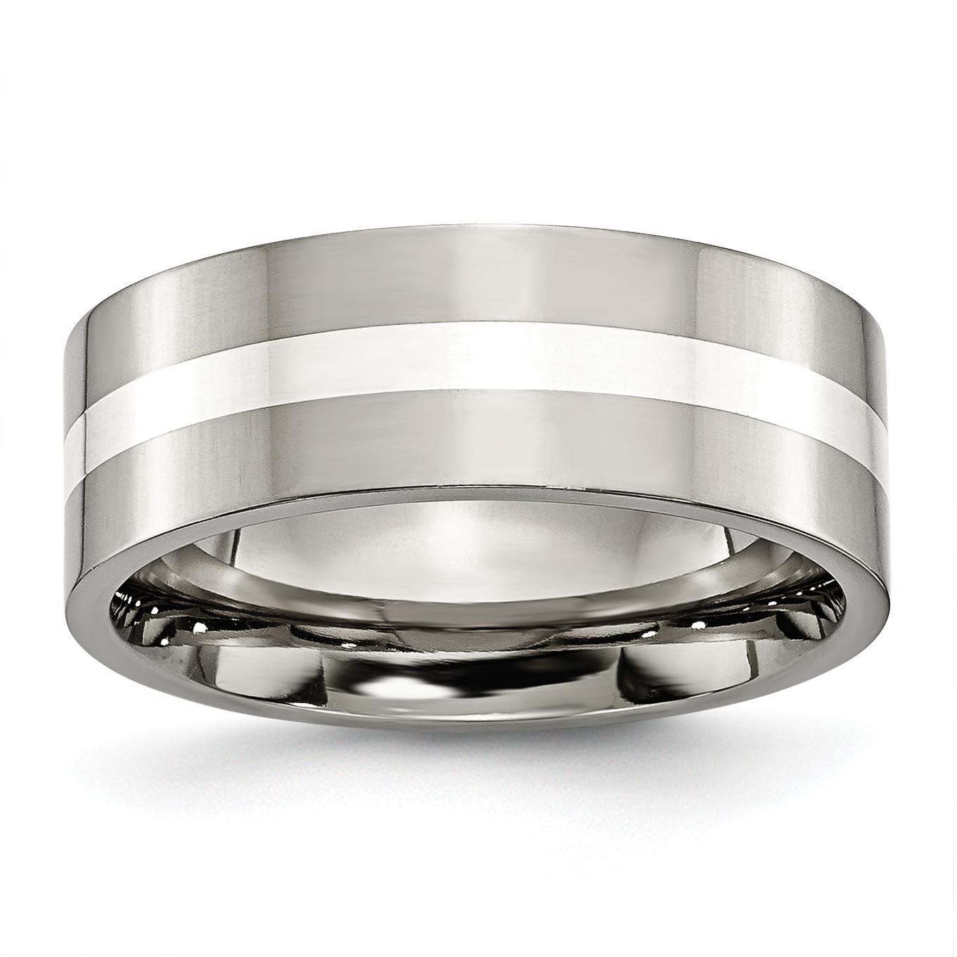 Titanium 925 Sterling Silver Inlay Flat 8mm Wedding Ring Band Size 7.00 Precious Metal Fine Jewelry Gifts For Women For Her - image 6 de 6