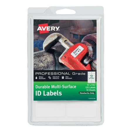 Avery Durable Multi-Surface ID Labels, Ultrahold Adhesive, White, 3/4