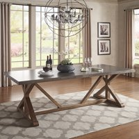 Weston Home Vander Rectangular Stainless Steel Top Dining Table with Poplar Wood X-Base