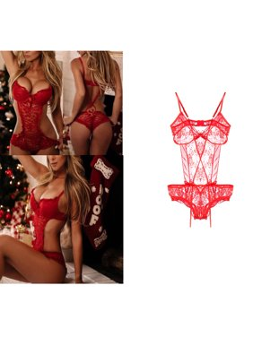 cfc8df4248d3 Product Image Women Sexy Hot Teddy Solid Red Sleepwear Bandage Floral  Lingerie Push Up Lace Babydoll Nightwear Leotard