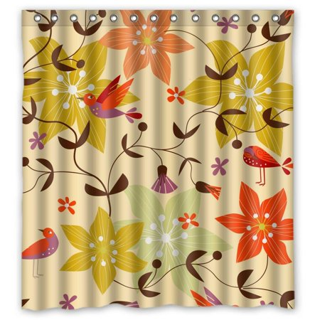 Ganma Botany Colorful Red Flower Shower Curtain Polyester Fabric Bathroom 66x72 Inches