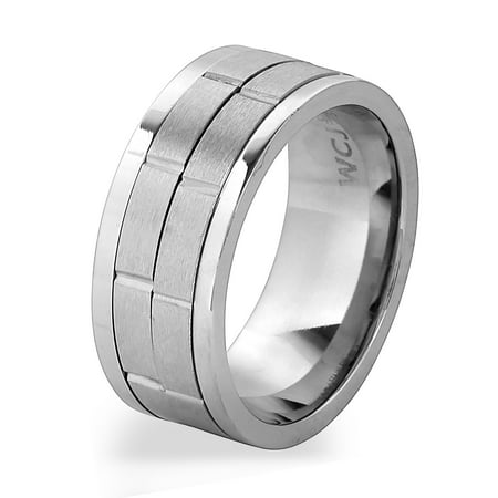 Stainless Steel Brushed Finish Dual Spinner Ring (9mm) ()