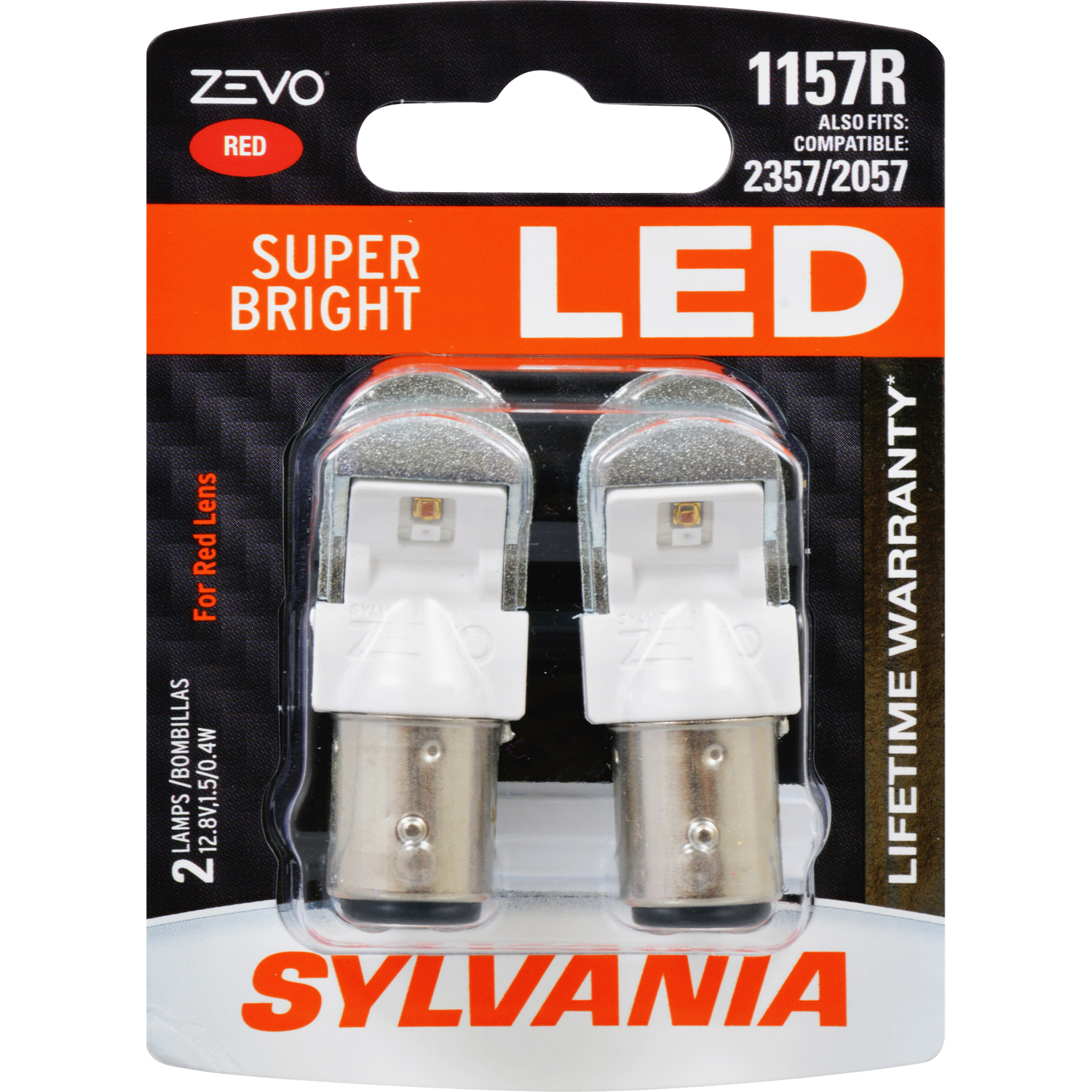SYLVANIA 1157R RED ZEVO LED Mini, Pack of 2