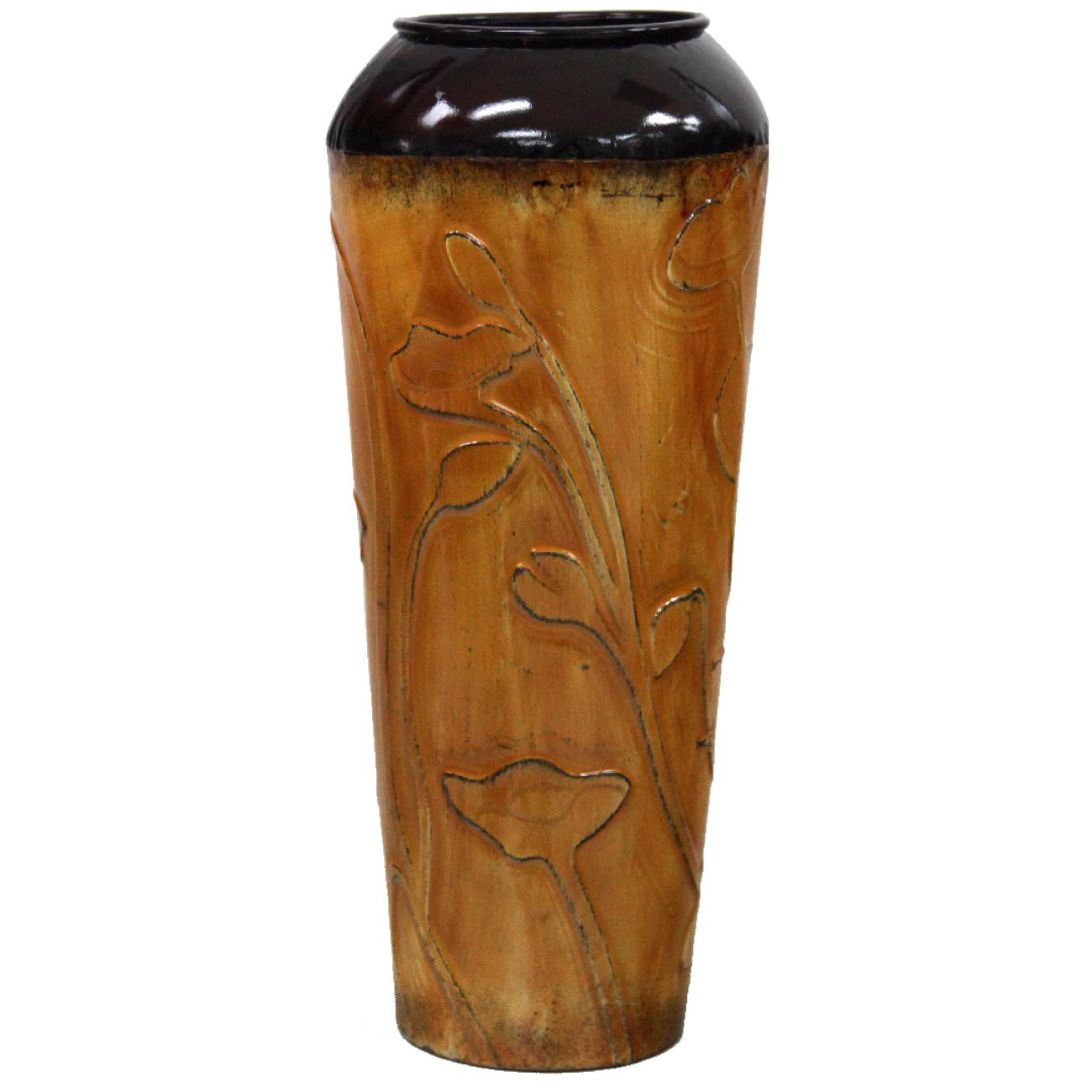Home Source Table Top-Metal Cylinder Vase - Orange/Yellow