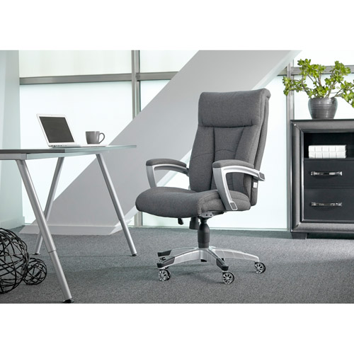 sealy posturepedic office chair fabric cool foam chair, grey