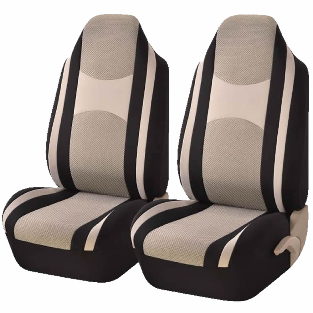 2 Piece Beige & Black Mesh Honeycomb High back Double Stitched Front Seat cover Universal Car Truck SUV