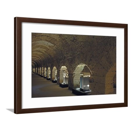 Travertine Columns in Criptoportico Forensic Forum (1st Century Bc-2nd Century Ad), Roman Monument Framed Print Wall Art - Plastic Roman Columns For Sale