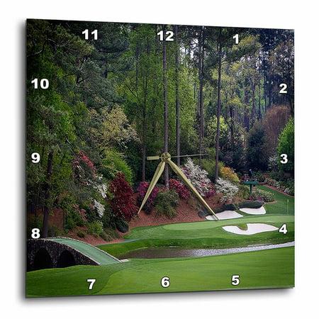 - 3dRose Augustas Amen Corner Golf Course - Golfers on Bridge, Wall Clock, 15 by 15-inch