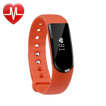Letscom Fitness Tracker Watch  Bluetooth 4 0 Heart Rate Monitor Bracelet  Ip67 Waterproof Touch Screen Smart Bands With Activity Tracker For Iphone Android Smartphone Orange