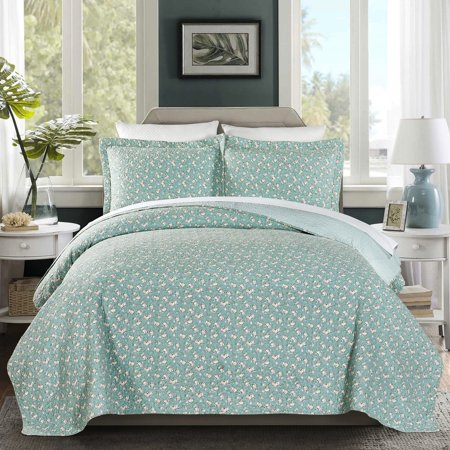 French Impression Brooklyn 100 Cotton Pre-Washed Reversible 3 piece Quilt Set