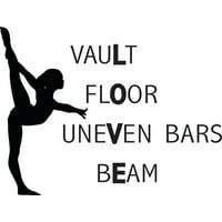 """Gymnastics LOVE Wall Decal Decoration - Vault, Floor, Uneven Bars, Beam - Kid's Gymnast Vinyl Sticker / Bedroom Decor - 20""""x18"""""""