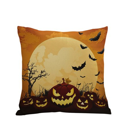 Joyfeel Clearance Happy Halloween Square Decorative Throw Pillow Case Cushion Cover Bat Pumpkin Moon - Halloween Throw Up Pumpkin