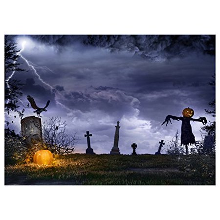 ABPHOTO Polyester Photography Background Photo Backdrops Magic Theme Photography Studio background Horror night wilderness, lightning,ect for Halloween 7x5ft