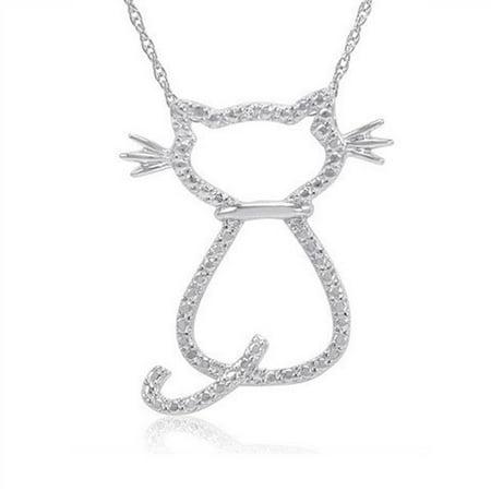 Diamond Accent Cat Pendant - Necklace in Sterling Silver - image 1 de 1