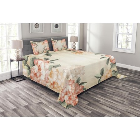 Leaf Spring Set (Floral Bedspread Set, Blooming Hydrangea Flowers Leaves Bouquet Vintage Style Spring Nature Print, Decorative Quilted Coverlet Set with Pillow Shams Included, Salmon Reseda Green, by Ambesonne)