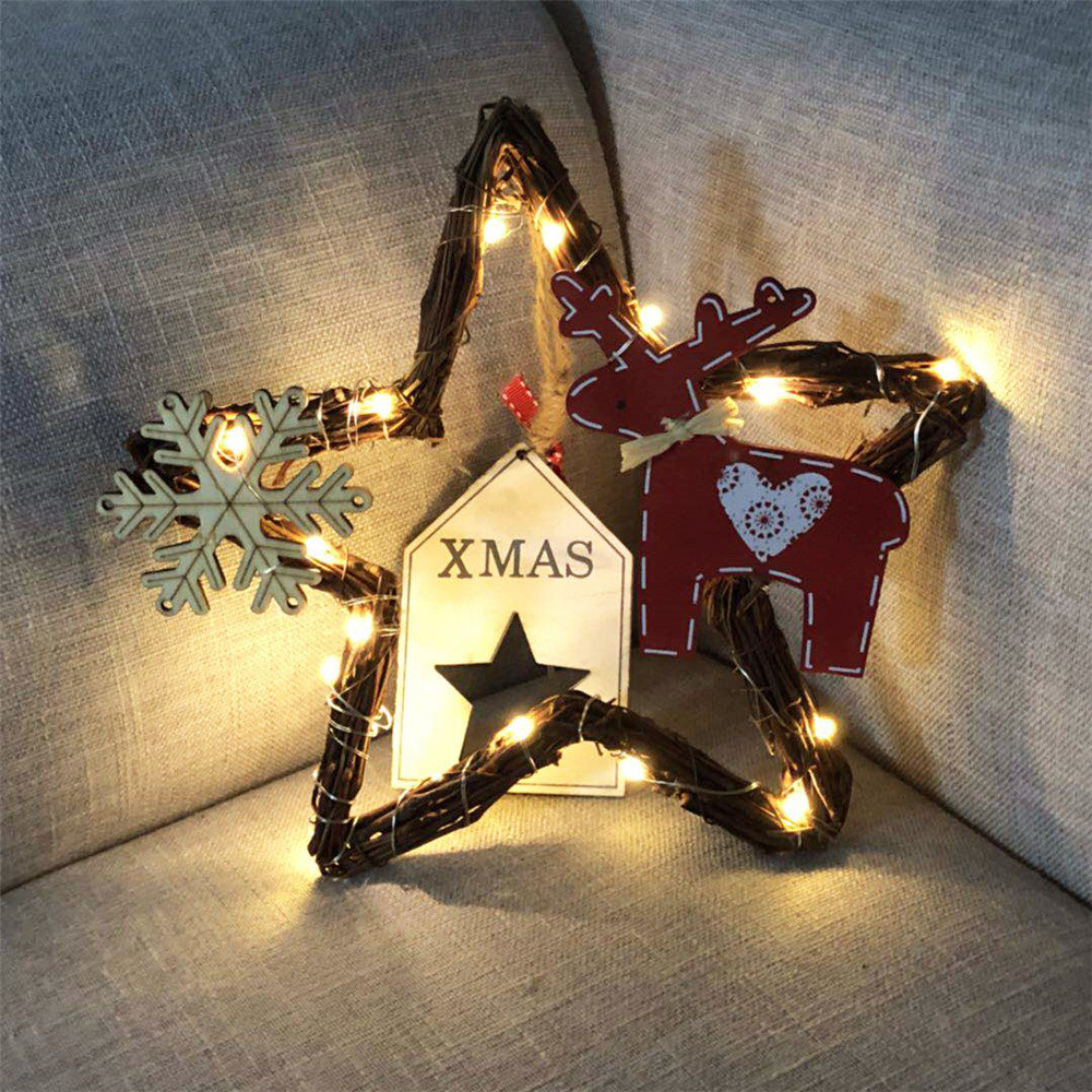 DIY Rattan Wreath String Lights Lamp Christmas Door Wall Decor With 20 LED Beads