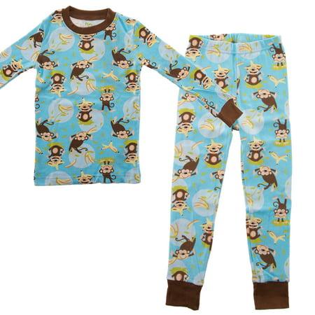 PLove Kids Two-Piece Organic Cotton Pajamas Little Boys Toddler PJs Pants Shirt ()