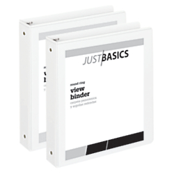 "Just Basics Economy Round-Ring View Binders, 1 1 2"" Rings, 61% Recycled, White, Pack Of 2 Binders by"