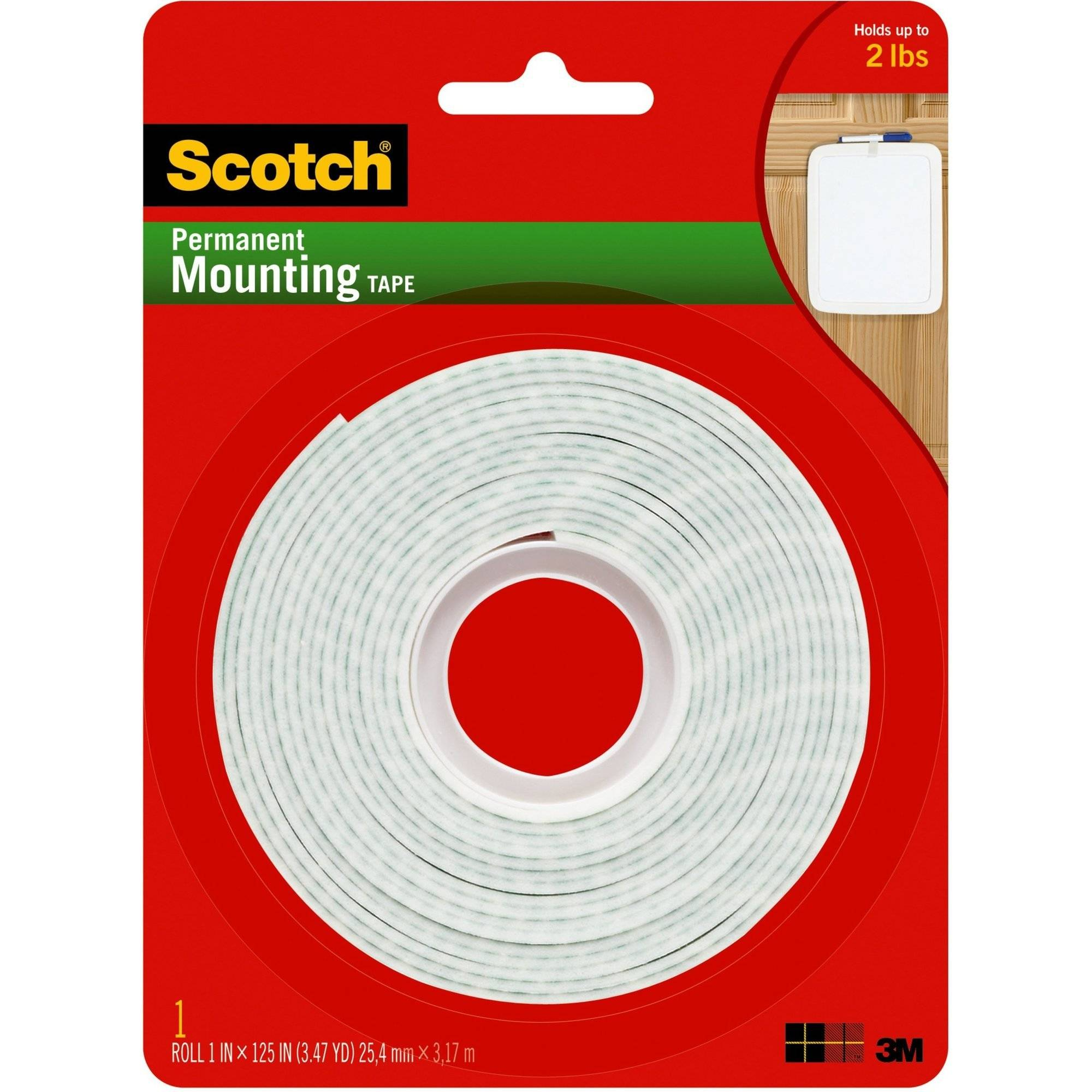 Scotch Permanet Mounting Tape, 1 in. x 125 in., White, 1 Roll/Pack