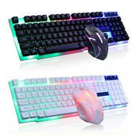 Wired Ergonomic Gaming LED Keyboard and Mouse, Multiple Color Rainbow LED Backlit Mechanical Feeling USB Wired Gaming Keyboard and Mouse Combo BLACK