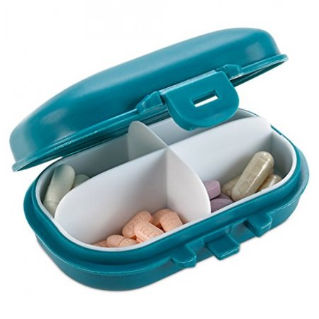 Pill Organizer Box - 4 Compartment Travel Medication Carry Case - A Daily Pill Box Vitamin Organizer Box for your Pocket or Purse (Pill Container For Purse)