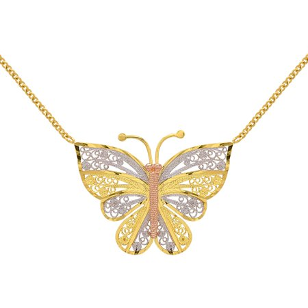 Yellow, White and Pink 18kt Gold-Plated Butterfly Pendant, 17