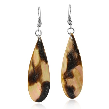 Tropical Chic Natural Brown Lip Shell Long Teardrop Dangle Earrings (Tropical Natural Shell)