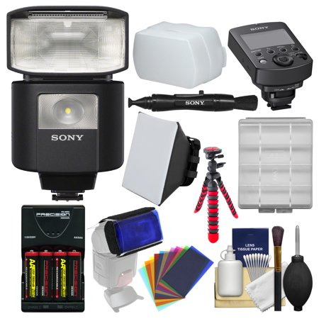 Sony Alpha HVL-F45RM Radio-Controlled Flash with Video Light & Wireless Commander + Batteries & Charger + Tripod + Soft Box + Diffuser + Gels (Gel Trim)