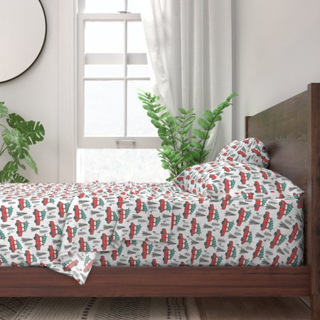 Christmas Car Tree Trees Xmas Holiday 100% Cotton Sateen Sheet Set by Roostery ()