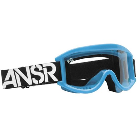 ANSWER RIDING APPAREL Logo Youth Goggles Blue Cyan/Clear Lens   - Off Road Goggles Riding Gear
