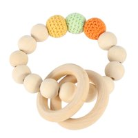 Zaqw Handmade Natural Wooden Baby Teether Bracelet Crochet Beads Teething Ring Infant Toy Gift, Wooden Teether,Baby Teether