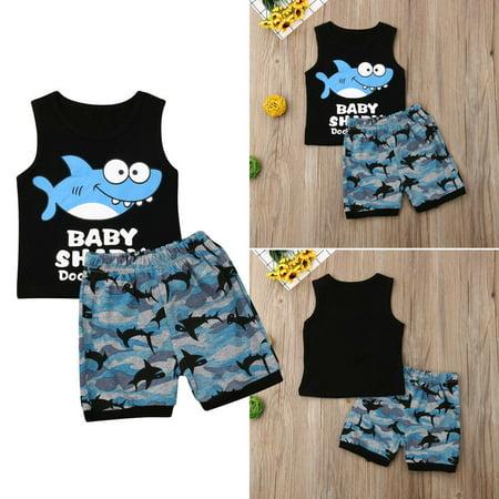 1-5Y Summer Toddler Kids Baby Boy Clothes Shark Print Sleeveless Vest Tops Shorts Pant Bottom 2PCS Boys Clothing Set - Shark Hunter Outfit