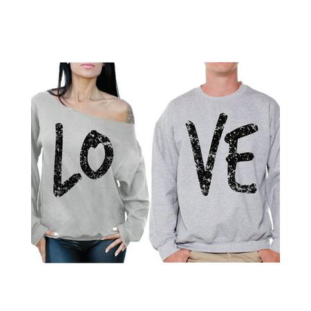 1dfd0e5044159c Awkward Styles Love Couple Sweatshirts Love Off the Shoulder Sweatshirt  Love Sweater Boyfriend Girlfriend Matching Couple Sweaters Husband Wife  Sweatshirts ...