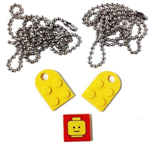 "Lego Valentine Heart Necklace/Keychain Bundle Kit (2) Yellow Modified 3 x 2 Plates with Hole (1) Decorative Tile (2) 24"" Nickel Plated Ball Chains"