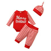 3Pcs Newborn Baby Long-Sleeved O-Neck Pajamas Baby Girls Boys Christmas Letter Romper Pants Hat Home Outfits Set