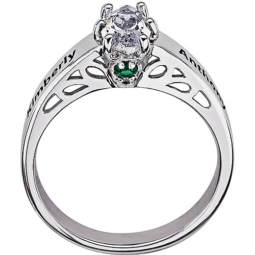 Personalized 1.62 Carat Marquise CZ Couple's Name and Birthstone Promise Ring in Sterling Silver