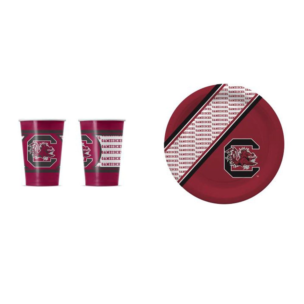 GameDay Essential South Carolina Gamecocks 20 Pc Disposable Paper Plates And 20 Pc Disposable Paper Cups