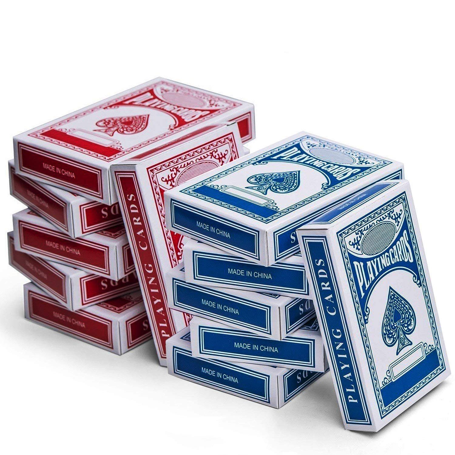 12-Decks Playing Cards - Blue And Red Printed Box Individual Packing For Party Favors, Christmas Gifts, Boys, Girls And Adults Texas, Blackjack And More - By Kidsco
