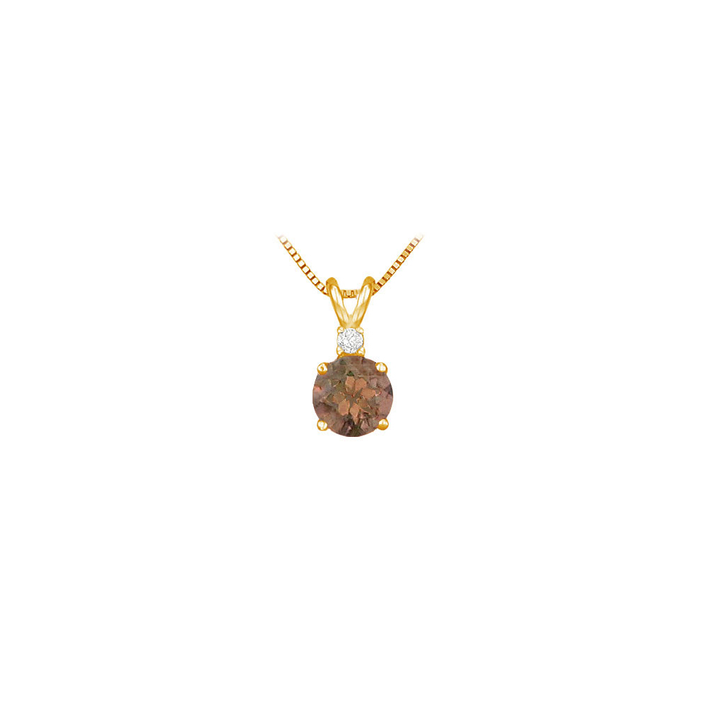 Diamond and Smoky Topaz Solitaire Pendant 14K Yellow Gold 1.00 CT TGW - image 2 de 2