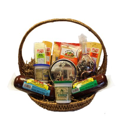 14-Piece Picnic Party Gourmet Summer Sausage and Cheese Gift Basket-Large (Large Summer Sausage)