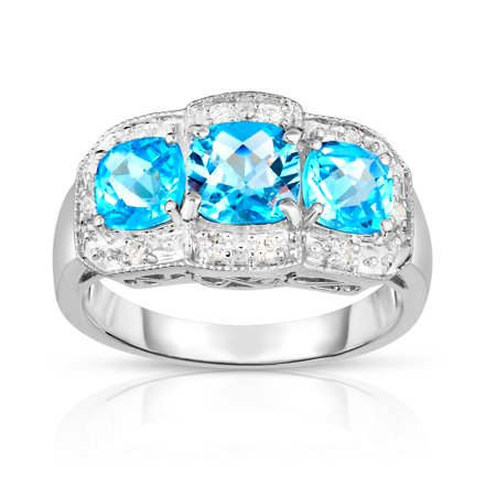 - Noray Designs 14k White Gold Cushion Swiss Blue Topaz and Diamond (0.15 Ct, G-H, SI2) Cocktail Ring