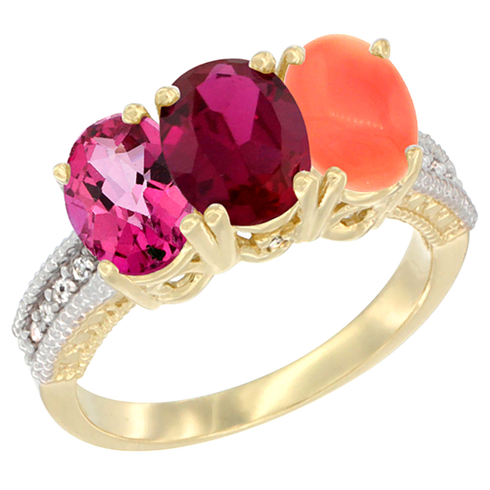 10K Yellow Gold Diamond Natural Pink Topaz, Enhanced Ruby & Coral Ring 3-Stone 7x5 mm Oval, sizes 5 10 by WorldJewels
