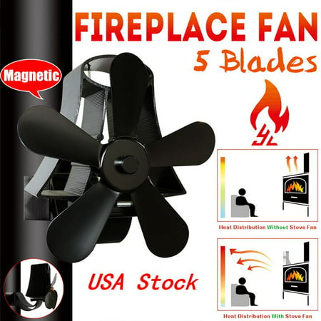 5 Blades Stove Fan Fireplace Heat Wall Mounted Black Heater Self-Powered Wood Burning Top Log Burner Silent Eco Friendly Fuel Saving Low Maintenance Disperses Warm Air